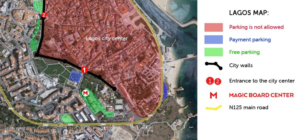 Free car parking map of Lagos Portugal