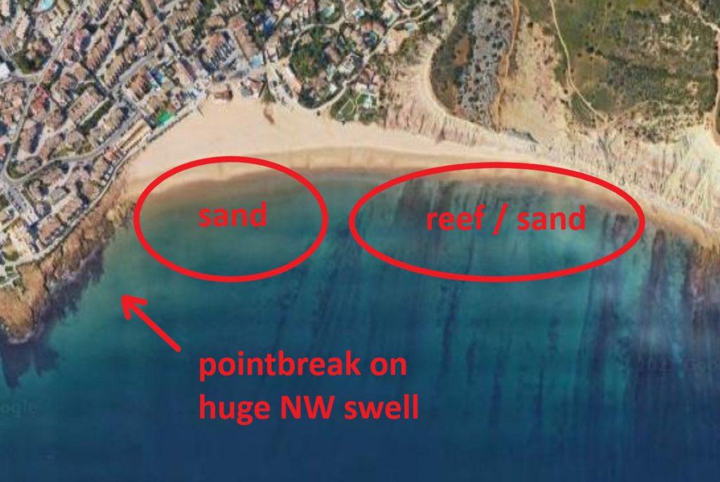 Praia da Luz beach surf spot in Lagos Algarve