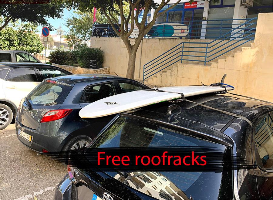 Free car roofracks for surfboard rent transportation in Lagos surf shop