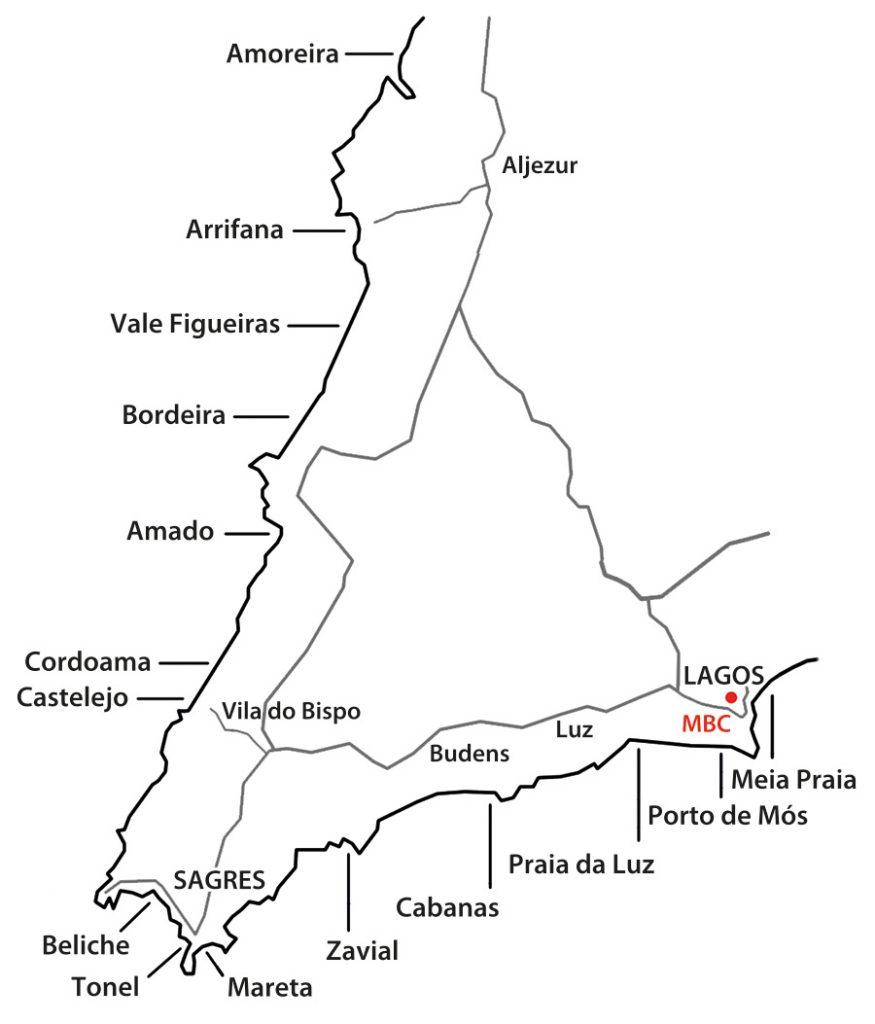 Map of surfing spots in Sagres, Lagos, Vila do Bispo, Aljezur, Algarve, Portugal